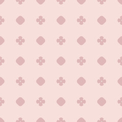 Simple pink vector abstract seamless pattern with polka dots, circles, flowers