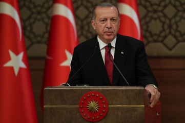 Turkish President Tayyip Erdogan announces his new cabinet at the Presidential Palace in Ankara