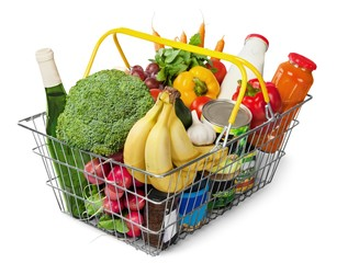 Shopping basket full of groceries