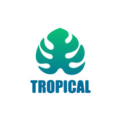 Icon logo tropical exotic leaf monstera