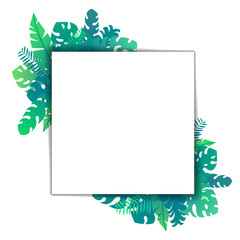 Template square card tropical leaves isolated