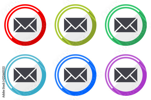 Email Vector Icons Set Of Colorful Flat Design Internet Symbols On