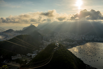 Sugarloaf mountain view of Rio de Janeiro backlit with sunrays