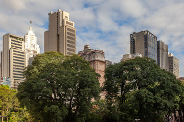 High rise São Paulo cityscape with trees in front