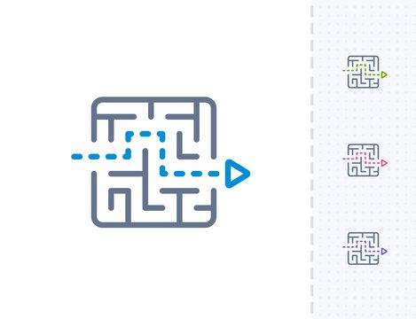 Arrow Through Maze - Vibrant Dash Icons . A professional, pixel-aligned icon .