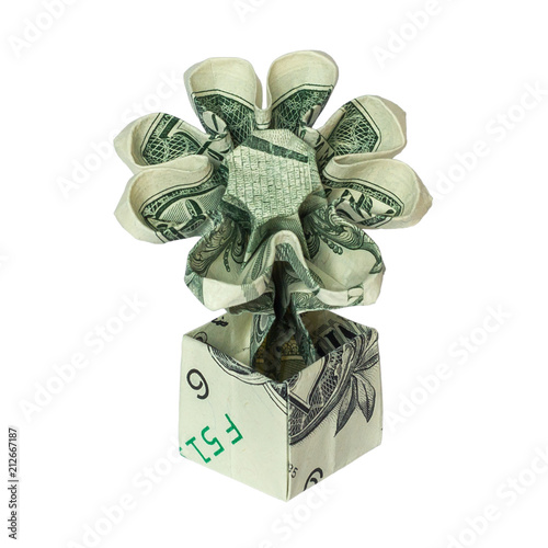 Money origami flower in pot folded with real one dollar bill money origami flower in pot folded with real one dollar bill isolated on white background mightylinksfo