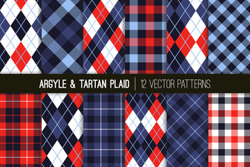 Indigo, Blue and Red Argyle and Tartan Plaid Vector Patterns. Preppy Golf Style Prints in Patriotic Red, White and Blue. 4th of July or Father's Day Backgrounds. Repeating Tile Swatches Included.