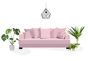 living room interior design botanical style, vector furniture home illustration.modern contemporary.