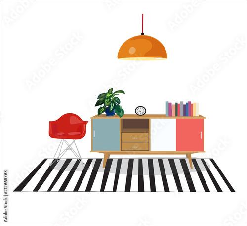 retro interior design elements set with text vector furniture mid