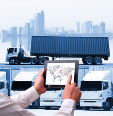 technology concept with global logistics  Industrial Container Cargo freight ship, internet of things Concept of fast or instant shipping, Online goods orders worldwide