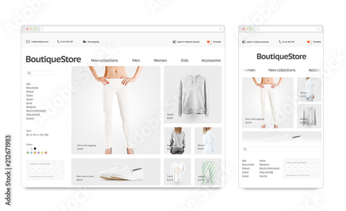 Fashion web store adaptivity template mock up set isolated