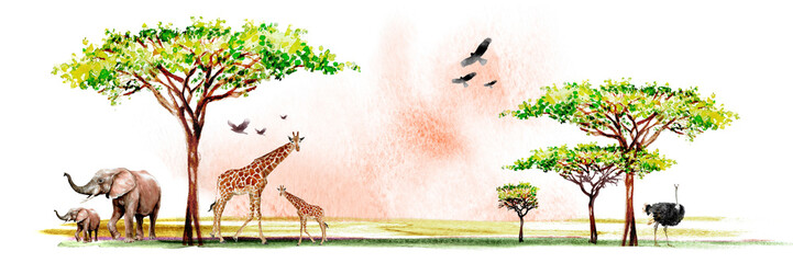 watercolor illustration of African wildlife, drawings of giraffes, elephants, eagles, birds and southern trees in the savannah