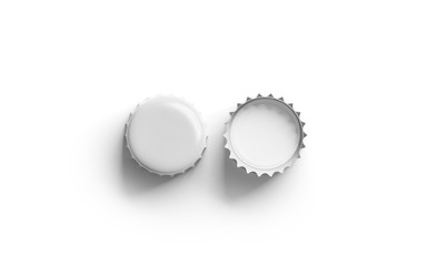 Blank white beer lid mock up, front and back side, top view 3d rendering. Empty metal soda cap mock up design template. Clear bottle cover isolated.