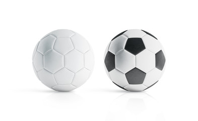 BLank white and white with black polygons soccer ball mockup, 3d rendering. Empty football sphere mockup, isolated. Clear sport bal for playing on the clean field template