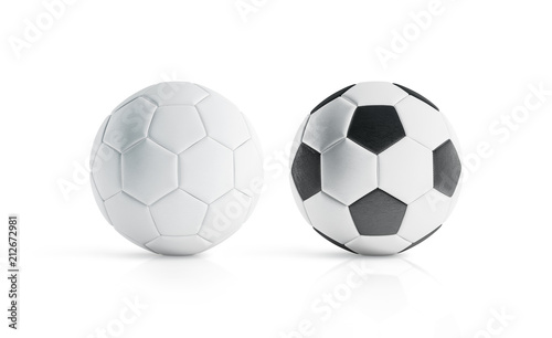 BLank White And With Black Polygons Soccer Ball Mockup 3d Rendering Empty Football
