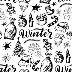 Winter seamless pattern. Season elements s on white background. Christmas theme retro texture.