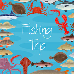 Vector poster for fishing trip and seafood fish