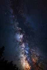 Astrophotography of Milky Way galaxy. Stars, nebula and stardust at night sky landscape