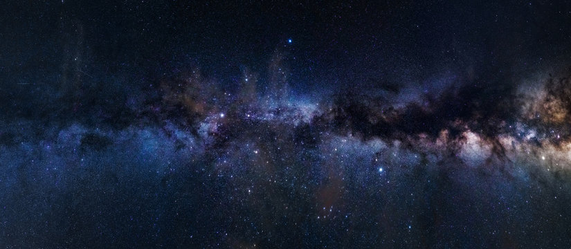 Panoramic astrophotography of visible Milky Way galaxy. Stars, nebula and stardust at night sky