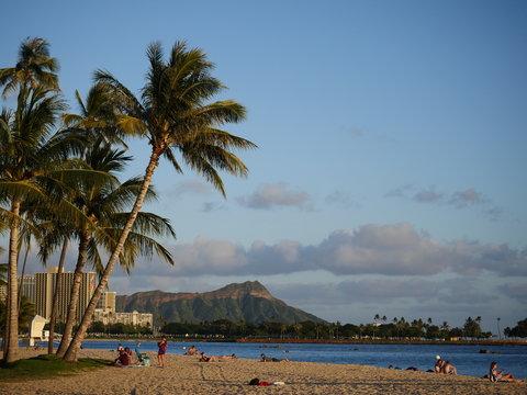 Ala Moana beach park with Diamond Head crater Waikiki view, Honolulu Hawaii Oahu island