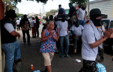 A local resident shouts slogans in support of Nicaragua's President Daniel Ortega in Diriamba