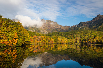 Togakushi's Lake  , Kagami-ike pond in autumn morning