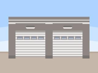 Warehouse exterior, flat style vector illustration.