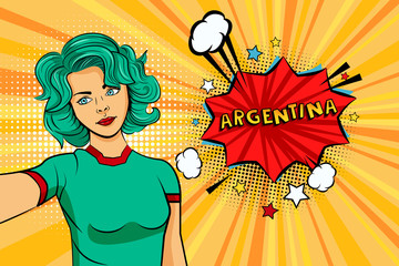 Aquamarine colored hair girl taking selfie photo in front of speech explosion Argentina name in bubble pop art style. Element of sport fan illustration for mobile and web apps