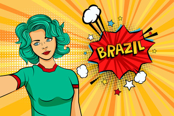 Aquamarine colored hair girl taking selfie photo in front of speech explosion Brazil name in bubble pop art style. Element of sport fan illustration for mobile and web apps