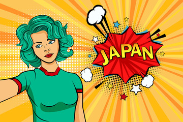 Aquamarine colored hair girl taking selfie photo in front of speech explosion Japan name in bubble pop art style. Element of sport fan illustration for mobile and web apps
