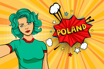Aquamarine colored hair girl taking selfie photo in front of speech explosion Poland name in bubble pop art style. Element of sport fan illustration for mobile and web apps