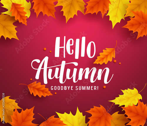 Hello autumn vector background template with autumn typography and hello autumn vector background template with autumn typography and maple leaves in red background for fall m4hsunfo