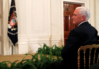 Vice President Mike Pence waits for U.S. President Donald Trump to announce his nominee for the Supreme Court of the United States in the East Room of the White House in Washington, D.C., U.S.