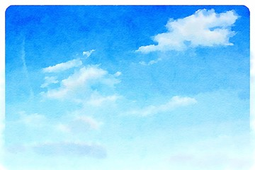 Watercolour blue sky with clouds