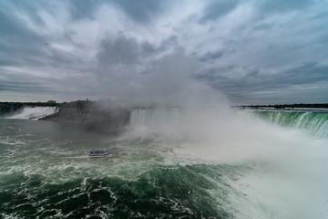 Foto op Plexiglas Onweer Canadian Niagara Falls panorama with a rainbow