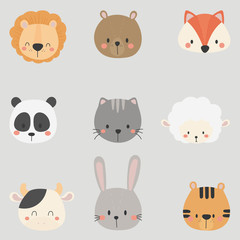 Set of cute animal heads. Lion, Bear, Fox, Panda, Cat, Sheep, Cow, Rabbit, Tiger.