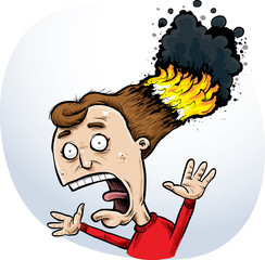 A cartoon woman screaming because her hair has burst into flames and smoke.