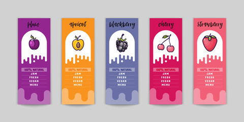 Jam packing design, for summer and autumn, fruits and berries of blackberries, plums, cherries, strawberries, apricots. And as you can use as web elements for the site and blog.