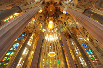 BARCELONA, SPAIN - SEPTEMBER 27 2011: Interior of Sagrada Familia cathedral under construction in Barcelona, Spain. wide view