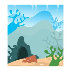 blue deep sea coral reef cave ocean scenery landscape background