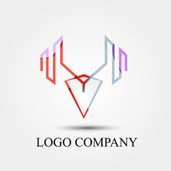 strong man vector logo, sign, or symbol concept for startup company