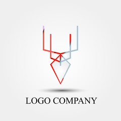 abstract deer vector logo, sign, or symbol concept for startup company