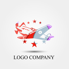 plane aviation vector logo, sign, or symbol concept for startup company