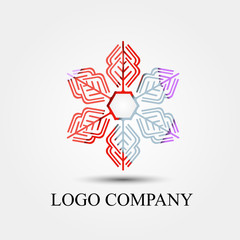 snowflakes vector logo, sign, or symbol concept for startup company