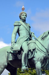 Statue of King Charles John on the Palace square in front of Slottet (Kings Palace).
