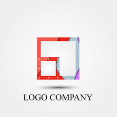 abstract square vector logo, sign, or symbol concept for startup company