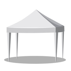 White canopy or tent, vector illustration. Promotional Outdoor Canoby Event Trade Show Pop-Up Tent Mobile Marquee. Mockup for your design.
