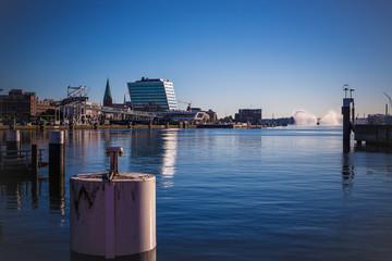 Acrylic Prints City on the water Löschboot im Hafen von Kiel