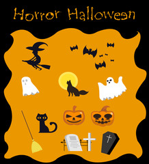 Halloween collection element for decoration, cartoon flat design.