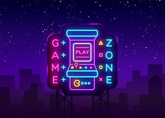 Game Zone Logo Vector Neon. Game Room neon sign board, design template, Gaming industry advertising, Gaming Machine vector, light banner, bright night neon design element. Vector Art Billboard